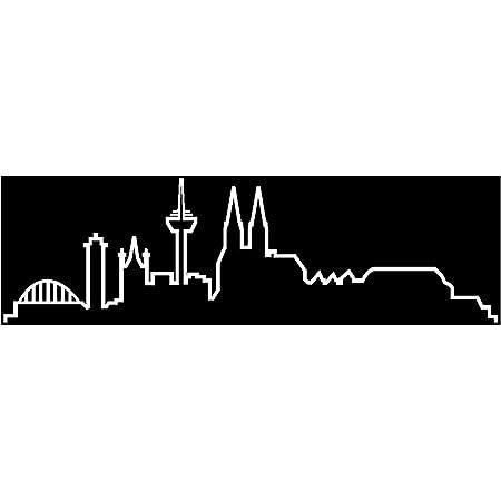 Samunshi Köln Skyline Aufkleber Silhouette In 8 Größen Und 25 Farben 15x4 4cm Silbermetalleffekt Küche Haushalt