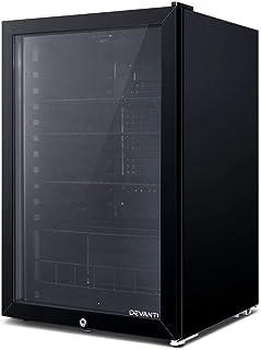 Devanti Bar Fridge Portable Fridges Glass Door Mini Freezer Fridges 115L Countertop Beverage