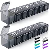Extra Large Weekly Pill Organizer, BPA Free 7 Day Pill Box Case with XL Compartment, Travel Friendly Medicine Organizer Pill Container for Vitamins, Fish Oils, Supplements, Medication (2 Pack, Grey)