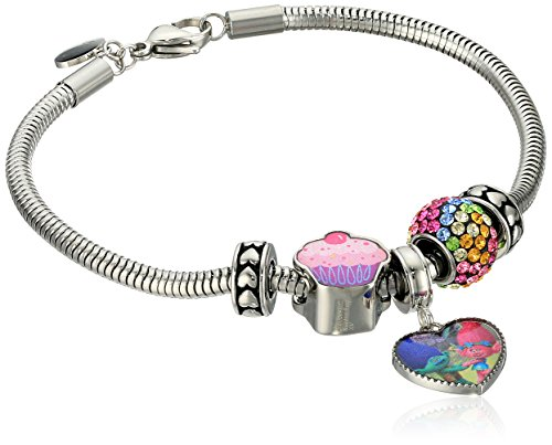 Trolls Stainless Steel 'Hug Time' Heart Charm, Crystal Bead and Cupcake Bundle with Stoppers Charm Bracelet