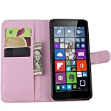 Ycloud Tasche für Nokia Microsoft Lumia 640 XL Dual-SIM Hülle, PU Ledertasche Flip Cover Wallet Case Handyhülle mit Stand Function Credit Card Slots Bookstyle Purse Design rosa
