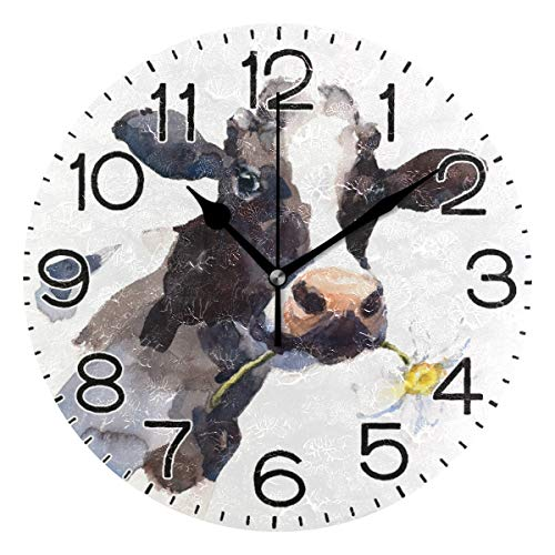 Milk Cow with A Daisy Flower Wall Clock Battery Operated Non Ticking Silent Quartz Analog Rustic Farmhouse Round Clock Retro Decor for Home Kitchen Living Room Bathroom