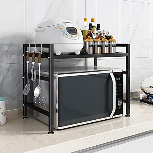 WLH Mensola Espandibile Cabinetto da Cucina E Controsoffitto Organizer (scaffale Espandibile -Black) (35-70x36x47cm)