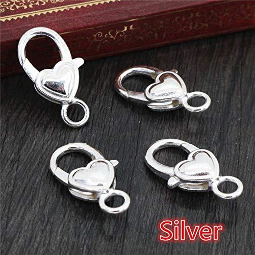 QINS 10 Unids/Lote Oro Plata Plateado Rhodium Heart Jewelry Findings Ganchos de Broche de Langosta para Collar y Pulsera Cadena, S4-16