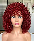 ANNIVIA Curly wig 14inch Afro Short Kinky Curly Wig with Bangs for Black Women (RED)