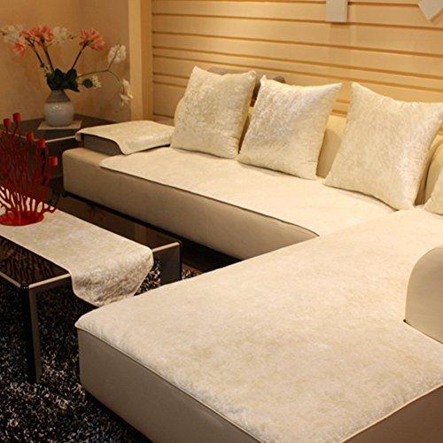 TY&WJ Plüsch Anti-rutsch Sofabezug Wohnzimmer Sofabezug Outdoor Couch-abdeckungen Möbel Protector Für ledersofa Haustier Hund & Kinder-Weiß 70x180cm(28x71inch)