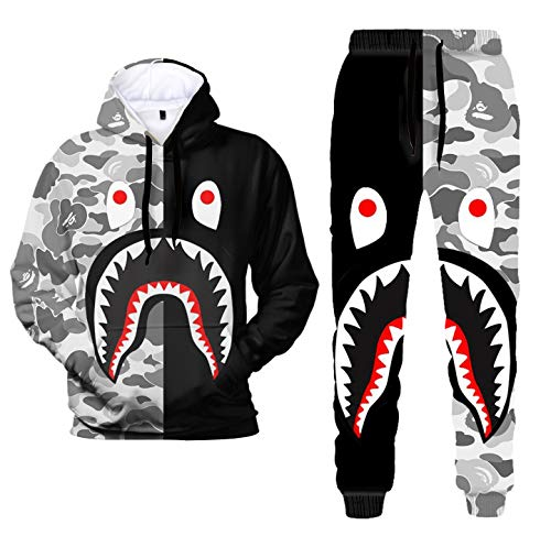 3D Print Camo Shark Hoodies and Pants Fashion Causal Sport Suit for Men Women(4.L)