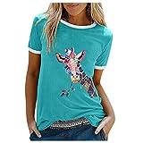 JUTOO Damen Sommer O-Ausschnitt Kurzarm Tshirt Casual Tunika Tops Tierdruck Bluse(H Grün,XL)