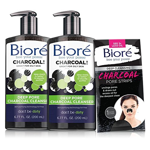 Bioré 2-PACK Deep Pore Charcoal Cleanser for Oily Skin (6.77 oz each) + One Bioré Deep Cleansing Charcoal Pore Strip for Nose
