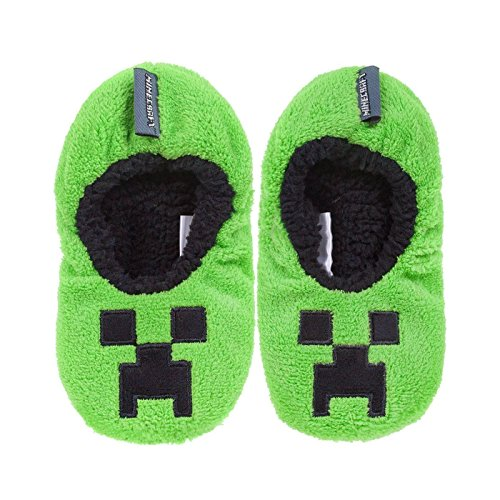 Vanilla Underground Minecraft Creeper Boy's Green Slipper Socks