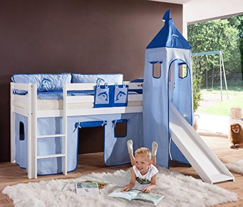 Froschknig24 Hochbett Alex Kinderbett mit Rutsche Spielbett Bett Wei Stoffset Blau Delfin, Matratze mit