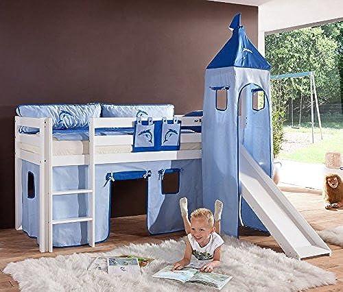 Froschk g24 Hochbett Alex Kinderbett mit Rutsche Spielbett Bett WeißStoffset Blau Delfin, Matratze mit