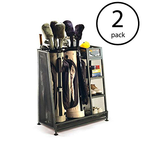 Suncast Metal Complete Golf Bag Organizer for Garage with 3 Shelves and Deep Bin (2 Pack)