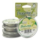 Clear Flex Rite Beading Stringing Wire .012 Inch 30 Feet Nylon Coated Stainless Steel 7 Strand Tigertail 8lb Break by BeadSmith Flex Rite