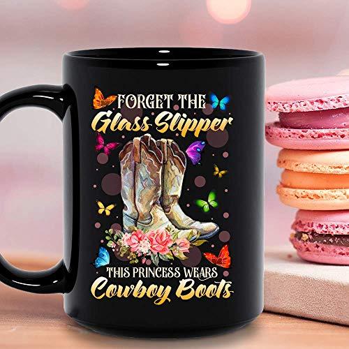 Forget The Glass Slipper This Princess Wears Cowboy Boots Flowers Womens Funny Ceramic Mug Graphic Coffee Mugs Black Cups Tea Tops Custom Novelty 11 Oz 15 Oz