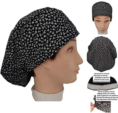Op Haube Frau Schwarze blumen Für lange Haare, Krankenpflege, Zahnärzte, Tierarzt, Küche usw. Stirnbereich mit Handtuch. einstellbar nach Ihren Wünschen