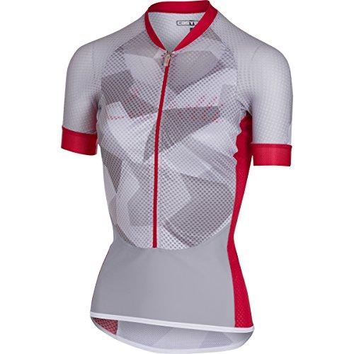 Maillot de ciclismo de manga corta para mujer Castelli 2018 Climbers Blanco-rojo