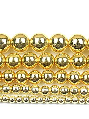 Cuentas redondas de hematita de piedra natural de 2/3/4/6/8/10/12 mm de color dorado de cuentas sueltas de bolas de joyería pulseras de hacer accesorios de bricolaje oro 8mm aprox. 46 cuentas