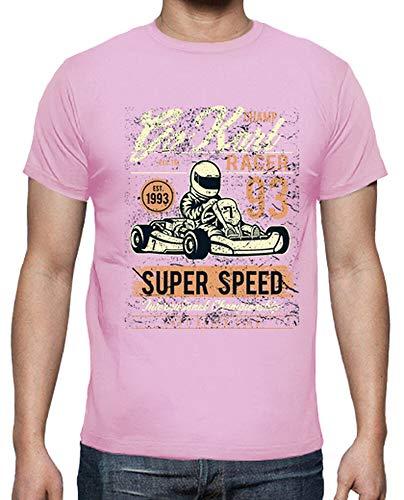 latostadora - Camiseta Go Kart Racer para Hombre Rosa M