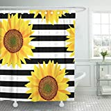 Emvency 66'x72' Shower Curtain Waterproof Home Decor Brown Bright Sunflowers On Striped Black and White Pattern Orange Sun Beautiful Picture Print Polyester Fabric Adjustable Hook Set