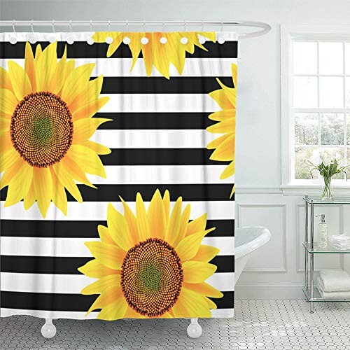 "Emvency 66""x72"" Shower Curtain Waterproof Home Decor Brown Bright Sunflowers On Striped Black and White Pattern Orange Sun Beautiful Picture Print Polyester Fabric Adjustable Hook Set"