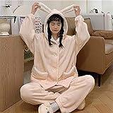 B/H Pijama Mujer Invierno de Manga Larga,Pijamas de Mujer, cárdigan con Capucha Suelto Casual, Plush-Apricot_One_Size