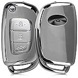 kwmobile Funda Compatible con Hyundai Llave de Coche Plegable de 3 Botones - Carcasa Suave de TPU - Cover de Mando y Control de Auto en Plateado Brillante