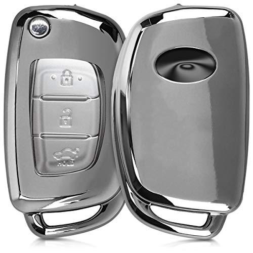 kwmobile Autoschlüssel Hülle kompatibel mit Hyundai 3-Tasten Autoschlüssel Klapp - TPU Schutzhülle Schlüsselhülle Cover in Hochglanz Silber