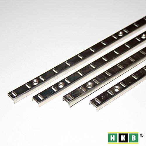 HKB ® 4 Stück Bodenträgerschiene Vari, 10mm, 1000 x 10mm, vernickelt, Fachbodenträger, Möbelbodenträger, Löffelbodenträger, ohne Schrauben, Hersteller Hettich, Artikel-Nr. 9080995-4