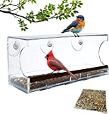 Window Bird Feeder | Extra Large | 100% See-Through Clear Acrylic | Bonus: Includes Bird Food Mix | Strong Suction Cups | Removable Food Tray with Drain Holes | Weatherproof | Great for Outdoors
