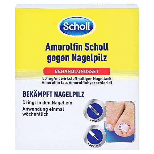 Scholl Amorolfin gegen Nagelpilz – Effektive Behandlung mit Anti Pilz Nagellack, Nagelfeilen, Spatel & Reinigungstupfer – 1 Behandlungsset