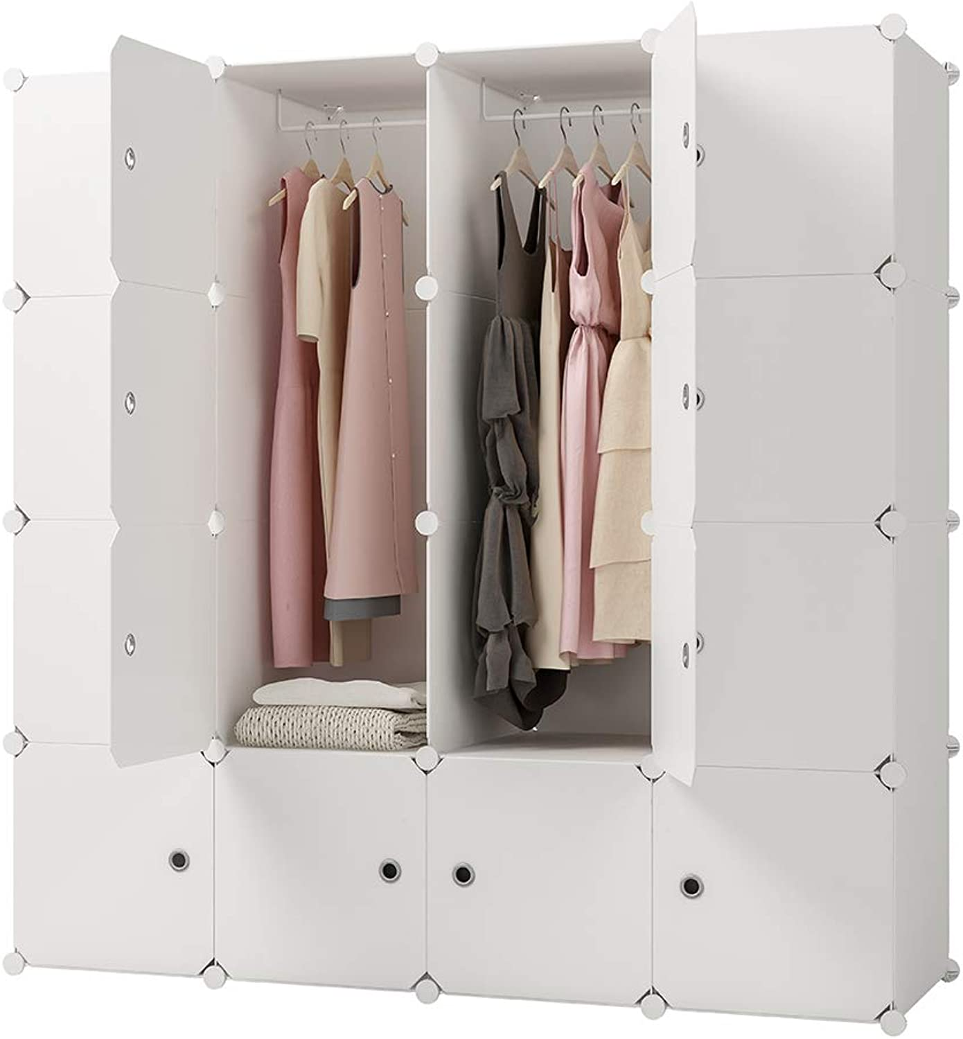 KOUSI Portable Clothes Closet Clothing Storage Plastic Dresser Shelves Armoire Wardrobe Moving Boxes Rack Bins Shelf Closet for Bedroom Organizers and Storage, White, 10 Cubes+2 Hanging Sections