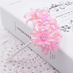 6Pcs Artificial Flowers Roses Wedding Shoes Headdress Diy Home Decoration Bridal Wreath Collage,Pink
