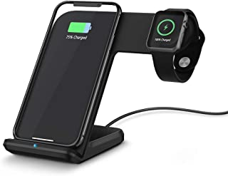 FACEVER Wireless Charger, 2 in 1 Fast Phone Watch Qi Charging Stand Charging Station Dock Compatible for iWatch Apple Watch Series 1 2 3 4 iPhone X XS MAX XR 8 8 Plus Samsung S9 S10, Black