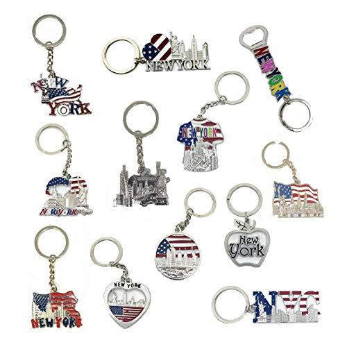 12 Pack New York NYC Metal Keychain Ring Bundle Souvenir Collection, Gift Set – Includes Empire State, Freedom Tower, Statue Of Liberty, USA Flag, And More