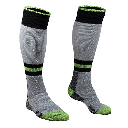 RefrigiWear Cold Weather Moisture Wicking 15-Inch Knee Length Super Sock (High Visibility Lime, Large/X-Large)