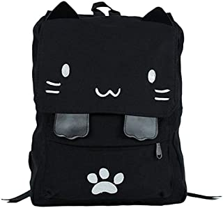 Black College Cute Cat Embroidery Canvas School Backpack Bags for Kids Kitty (white)