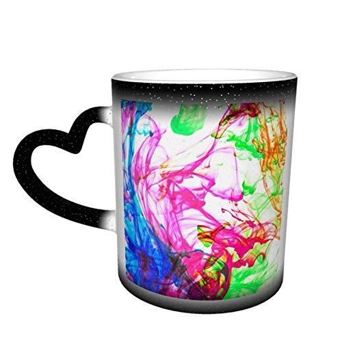 Taza de cerámica con cambio de color sensible al calor, tazas de café con efecto teñido anudado, taza con cambio de color de cielo estrellado, sorpresa de cumpleaños para niños y niñas, 11oz-LB9