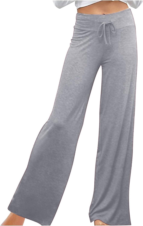 NEEKEY Women's High Waist Flared Pants Casual Long Bootleg Trousers Elastic Band Drawstring Pants Wide Leg Yoga Palazzo Pants