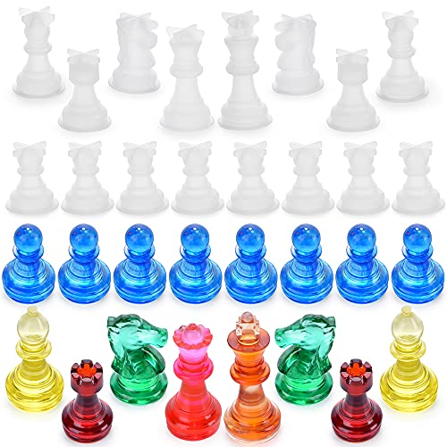 ZYTIN Chess Mold for Resin,16 Pieces 3D Silicone Chess Resin Mold,Chess Crystal Epoxy Casting Molds for DIY Crafts Making,Birthday Gift, Family Party and Outdoor Games
