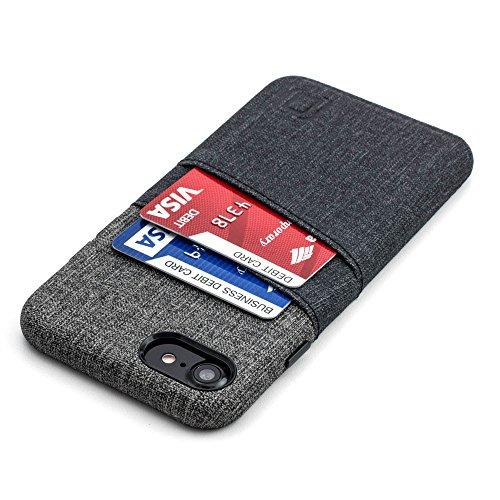 Dockem Luxe Funda Cartera para iPhone 8 y 7: Funda Tarjetero Minimalista con Piel Sintética UltraGrip con Diseño de Tela, Cubierta Profesional Slim Fácil de Instalar con 2 Ranuras para Tarjetas