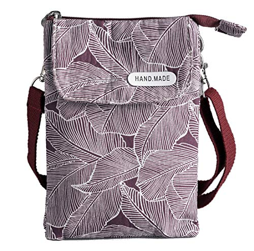 Roomy Cell Phone Purse Wallet Canvas Small Crossbody Purse Bags with Shoulder Strap For Women teen girlsl (A-Wine red/purple leaves)