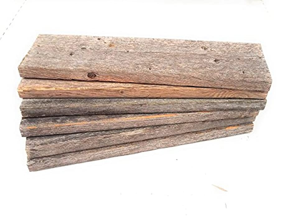 Rockin' Wood Rustic Weathered Reclaimed Wood Planks for DIY Crafts, Projects and Decor, Authentic Barnwood Style- Box of six Planks (12 inch, Rustic Grey)