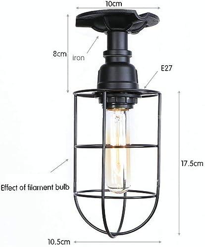 H&H HH Accueil Meubles Plafonnier Rétro Filet de Fer Rond américain Plafonniers Européens Lampes de Chambre Européennes Diamètre 10.5Cm E27