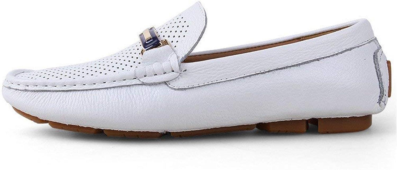 Oudan Herren Mokassins Schuhe, Herren Driving Loafers Volltonfarbe Penny Stiefelschuhe Gummisohle Casual Mokassins (Farbe   Hohle Schwarz, Gre   43 EU) (Farbe   Hohles Weiß, Gre   42 EU)