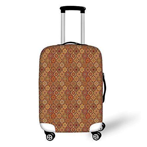 Reizen Bagage Cover Koffer Beschermer, Cactus, Cartoon Hand Getrokken Gebladerte in vazen Latijns-Amerikaanse Inspiraties Botanische Decoratieve, Blauw Geel Bleke Roze, voor Reizen
