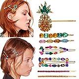 7PCS pasadores de pelo de cristal coloridos pasadores para el cabello para mujeres pasadores de pelo de diamantes de imitación pinzas de pelo de cristal hechas a mano pasadores de pelo