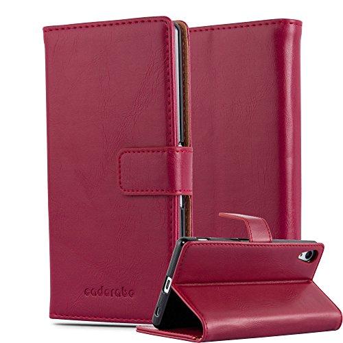 Cadorabo Hülle für Sony Xperia Z4 in Wein ROT – Handyhülle mit Magnetverschluss, Standfunktion & Kartenfach – Hülle Cover Schutzhülle Etui Tasche Book Klapp Style