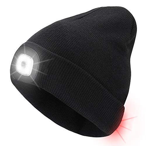 Number-one LED Beanie Hat USB Rechargeable 8 LEDLightHat Winter Warm Knitted Beanie for Men and Women, Hand Free Front and Rear lighting Headlamp Cap for Camping, Running, Cycling, Skiing (Black)