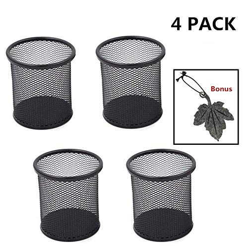 4 Pack 4' inch Black Round Cylinder Shape Mesh Pen Holder Metal Jumbo Pencil Cup Pen Organizer Medium Size - Bonus a Leaf Bookmark